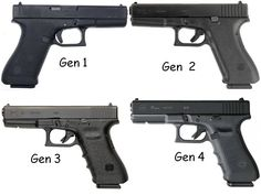 The four generations of the Glock 17. These are full sized(standard size) pistols chambered for 9mm