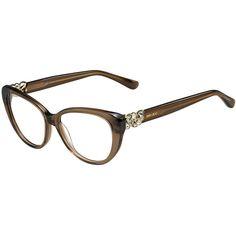 Jimmy Choo Cat-Eye Optical Frame w/Jewel Temple ($435) ❤ liked on Polyvore featuring accessories, eyewear, eyeglasses, brown, cat eye eyeglasses, colorful eyeglasses, colorful glasses, clear glasses en jimmy choo glasses