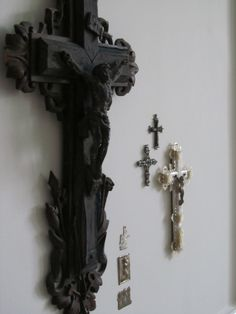 antique crucifixes, mostly picked up at French fleamarkets