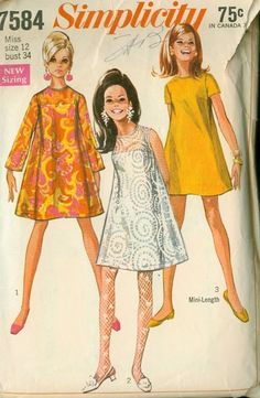 Simplicity 7584 Misses Mini Tent Dress and Under Slip Go Go Fashion womens vintage sewing pattern by mbchills fashion women Simplicity Sewing Patterns, Dress Sewing Patterns, Vintage Sewing Patterns, Pattern Sewing, 60s Patterns, Vogue Patterns, Clothes Patterns, 1960s Fashion Women, 70s Fashion