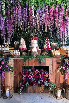 55 Amazing Wedding Dessert Tables & Displays – Hi Miss Puff Modern Wedding Theme, Wedding Reception Layout, Wedding Ideas, Wedding Inspiration, Pallet Wedding, Rustic Wedding, Wedding Desserts, Wedding Decorations, Floral Decorations