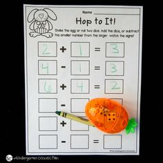 These spring math games with dice are perfect for working on addition and subtraction! They pair perfectly with clear Easter eggs to give them a fun twist! Kindergarten Math Worksheets, Math Activities, Easter Activities, Therapy Activities, Maths, Math Board Games, Dice Games, Addition And Subtraction Worksheets, Singapore Math