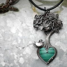 Birds, nests and tree - Tereza O - Handmade pendant with Malachite