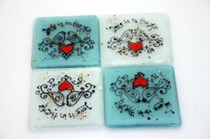 Fused Glass Coasters  set of 4 love bird by virtulyglass on Etsy, $32.50