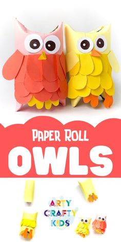 autumn crafts Super cute Toilet Paper Roll Owls to make with the kids! A fun and easy Autumn craft for kids using recycled materials and paper. Easy Fall Crafts, Quick Crafts, Fall Crafts For Kids, Paper Crafts For Kids, Preschool Crafts, Diy For Kids, Preschool Kindergarten, Craft Activities, Fox Crafts