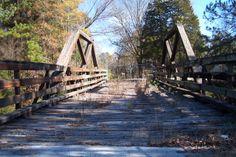 Old bridge over railroad tracks in Hartselle, AL