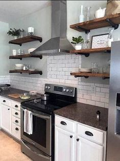 Any Size Floating Shelves, Kitchen Shelves, Industrial Pipe Shelves, Open Shelving, Laundry Room & Bathroom Wood Wall Shelves Rustic Kitchen, Country Kitchen, Diy Kitchen, Kitchen Storage, Kitchen Decor, Kitchen Cabinets, Kitchen Shelves, Glass Shelves, Kitchen Ideas