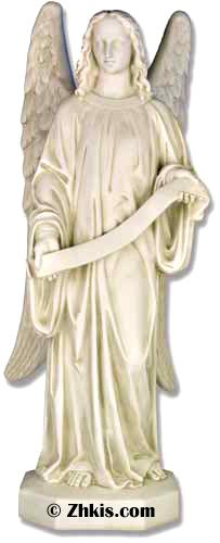 Angel with ribbon seal. One of two of left and right matching set. This Angel stands for foot tall and holds a ribbon. Made from durable fiberglass this statue can go indoors or outdoors. If both left and right are purchased get you a discount on the two of them. Several finish options available for this piece.