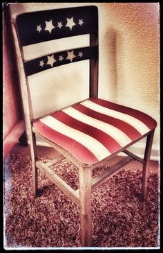 Vintage school chair painted Americana