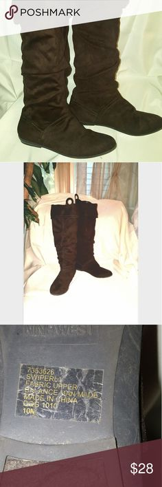 NINE WEST Suede like over knee or not boots. These are super soft, no visable flaws. Coffee Brown. Worn once. Cuff can go up over knee or fold over. A closet staple! Worn once! 10 M Nine West Shoes Over the Knee Boots