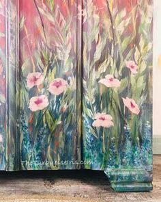 Hand Painted Furniture with Wildflowers Hand Painted Furniture, Paint Furniture, Furniture Makeover, Bedroom Furniture, Distressed Furniture, Painted Closet, Painted Wardrobe, Shabby Chic Furniture, Vintage Furniture