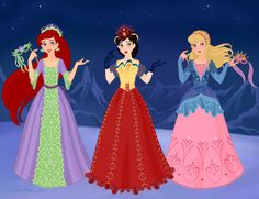 Disney Masquerade - Ariel, Snow White, and Aurora by M-Mannering