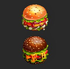 Hamburgers on Behance Food Poster Design, Food Design, Game Design, Burger Games, Chibi Food, 2d Game Art, Food Icons, Game Icon, Food Drawing
