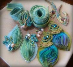 Serena Di Mercione work in progress - shibori ribbon and soutache earrings