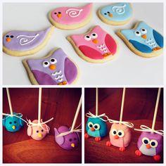 cookies e cake pops de corujinha e passarinho como lembrancinha da maternidade #cookies #cakepop