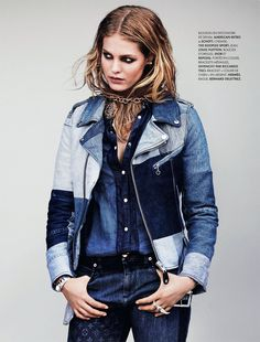 Keeping it Casual – Victoria's Secret beauty Erin Heatherton stars in the October cover story of Elle France, wearing a wardrobe of all denim looks. Mix Jeans, Denim Jeans, Denim On Denim Looks, Looks Jeans, Denim Shirt, Denim Style, Erin Heatherton, Editorial Denim, Estilo Jeans
