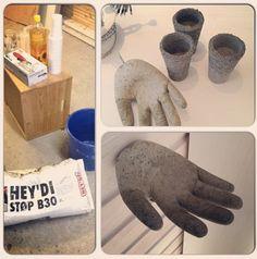 Håndknagg og små vaser i betong