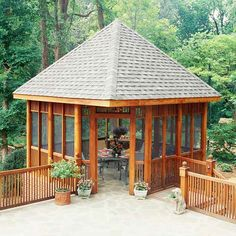 Outdoor Dreamin' I LOVE her post about different ideas for the gazebo on her deck... want one so bad! love this one with a roof and screen. (screened porch decorating gazebo)