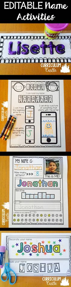 Activities EDITABLE Editable Name Activities that you can customize to your students' names! Perfect for Pre-K & Kindergarten!Editable Name Activities that you can customize to your students' names! Perfect for Pre-K & Kindergarten! Kindergarten Names, Preschool Names, Kindergarten Activities, Classroom Activities, Name Writing Activities, Learning Letters, Name Practice, E Mc2, Beginning Of The School Year