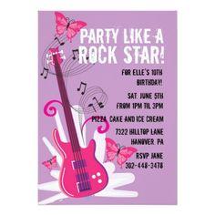 Shop Pop Star Birthday Party Invitation created by NanandMimis. 10th Birthday, 1st Birthday Parties, Birthday Party Invitations, Birthday Ideas, Invites, Happy Birthday, Pop Star Party, Rock Poster, Butterfly Birthday