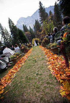 An outdoor fall wedding ceremony decorated with crisp fallen leaves. A beautiful way to add color to the aisle.