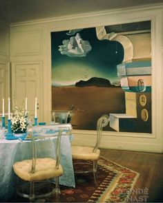 The dining room of Helena Rubinstein with Dali mural, Homes and Gardens, April 1, 1948.