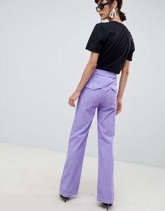 ASOS DESIGN   ASOS DESIGN retro full length flare jeans in lilac cord