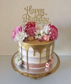 21st Birthday Cakes, Gold Birthday Cake, Birthday Cakes For Women, Birthday Cake For Women Elegant, 80th Birthday, Pretty Cakes, Cute Cakes, Beautiful Cakes, Amazing Cakes