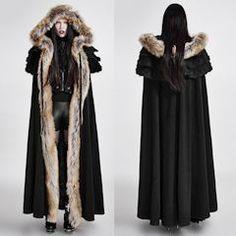 Women Black Fur Victorian Gothic Cloak SKU-11401263
