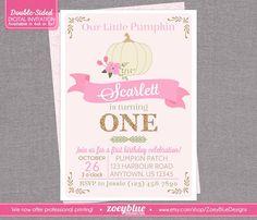 Little Pumpkin Pink & Gold Birthday Invitation  by ZoeyBlueDesigns