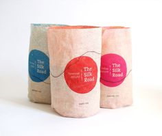 "lDesigned by Yonatan Sheinker | Country: Israel  ""The silk road"" – fabric packages for organic, high quality rice. The package can be reversed and used again inside out. The packaging pairs a modern colorful look with traditions, sustainability and free trade agreements."""