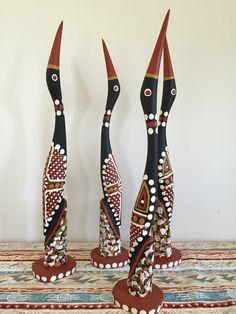Tiwi birds. 40cm high.  www.raintreeart.com.au