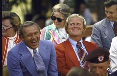 Arnold Palmer and Jack Nicklaus share a laugh at the Dedication Ceremony for World Golf Hall of Fame in 1974.
