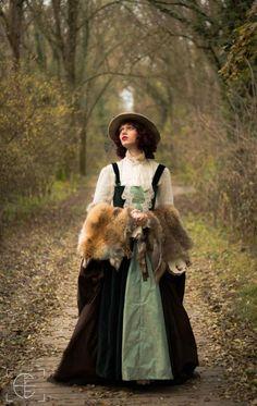 Costume mad'Hands victorian women steam steampunk fourrure fox robe verte automne wild victorian, XIXeme inspiration  Photo : Pierre Vermare