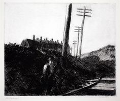 The Railroad, 1922 etching by Edward Hopper