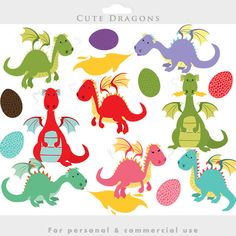 Dragon clipart - dragons clip art eggs cute whimsical fire breathing fairy tale commercial use personal use for invitations scrapbooking by WinchesterLambourne on Etsy https://www.etsy.com/uk/listing/233001458/dragon-clipart-dragons-clip-art-eggs