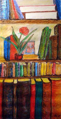 Bookshelf in colored pencil
