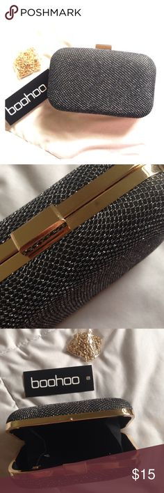 Glitter Shimmer Box Clutch Bag The perfect clutch for everyday essentials and night out necessities. Comes with gold strap option. New with tags, never used. Just in time for the holidays and date night! Pair this with one more item from my closet and get 20% off! Enjoy 💋💋💋 Boohoo Bags Clutches & Wristlets