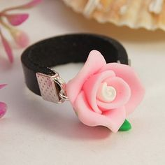 Wholesale Handmade Polymer Clay Flower Rings, with Genuine Cowhide Cord and Iron Findings, Pink, inner diameter Polymer Clay Ring, Polymer Clay Flowers, Polymer Clay Crafts, Handmade Polymer Clay, Design Your Own Ring, Flower Rings, Beading Jewelry, Beaded Rings, Bead Patterns