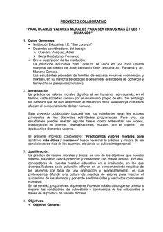 PROYECTO COLABORATIVO DE VALORES by Fernando Soria Crisostomo via slideshare
