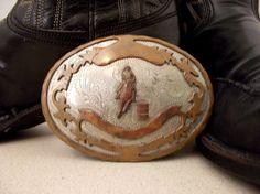 Vintage German Silver Barrel Racing Cowgirl belt buckle