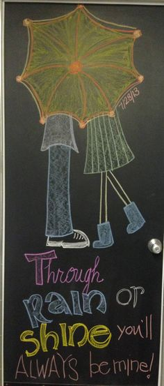 Rain or shine quote chalkboard art 7/28/13