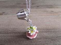 Daisy Flowers In a Teacup Jewelry Necklace, Pink Ceramic Teacup, White Flower Daisies, Clay Flowers, Silver Watering Can Charm, Gift for Her