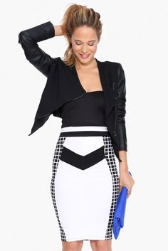 Grid Matrix Dress in Black/white | Necessary Clothing