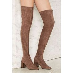 Jeffrey Campbell Cienega 2 Over-the-Knee Boot ($210) ❤ liked on Polyvore featuring shoes, boots, brown, brown leather over the knee boots, leather boots, brown boots, brown leather boots and over the knee thigh high boots