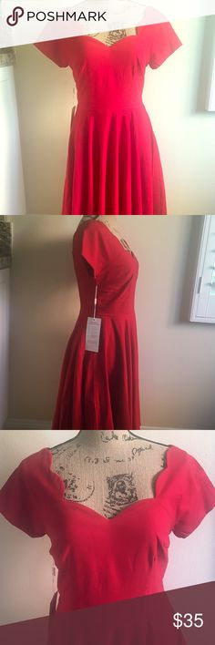 Retro red pin up dress 🎉🎉NWT🎉🎉 Great thick material, length to the knee. Is a size small but fits more like a medium. Stunning neckline and back. Dresses Wedding