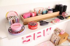 Mon coin couture / My sewing corner Coin Couture, Sewing Room Decor, Decoration, Floating Nightstand, Corner, Crafts, Inspiration, Journal, Space