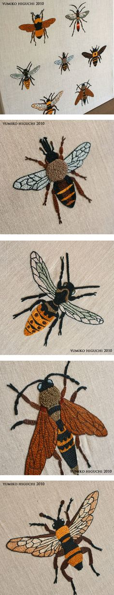 Bee Embroidery by Yumiko Higuchi - great detail for painting them on stones Bee Embroidery, Cross Stitch Embroidery, Embroidery Patterns, Machine Embroidery, Crazy Quilting, Fabric Art, Textile Art, Needlework, Crochet