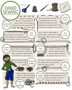 8 Most Helpful Hand Sewing Stitches - I feel ashamed that I probably wouldn't be able to do these on command.The 8 Most Helpful Hand Sewing Stitches - I feel ashamed that I probably wouldn't be able to do these on command. Sewing Lessons, Sewing Class, Sewing Basics, Sewing Hacks, Sewing Tutorials, Sewing Tips, Basic Sewing, Sewing Ideas, Dress Tutorials