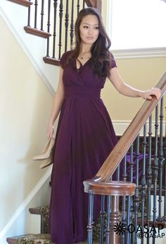 Elegant Surplice V Neckline Maxi Chiffon Dress m.OASAP.com